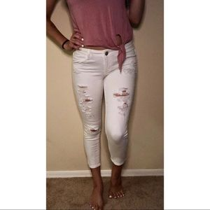 AE white cropped jeggings